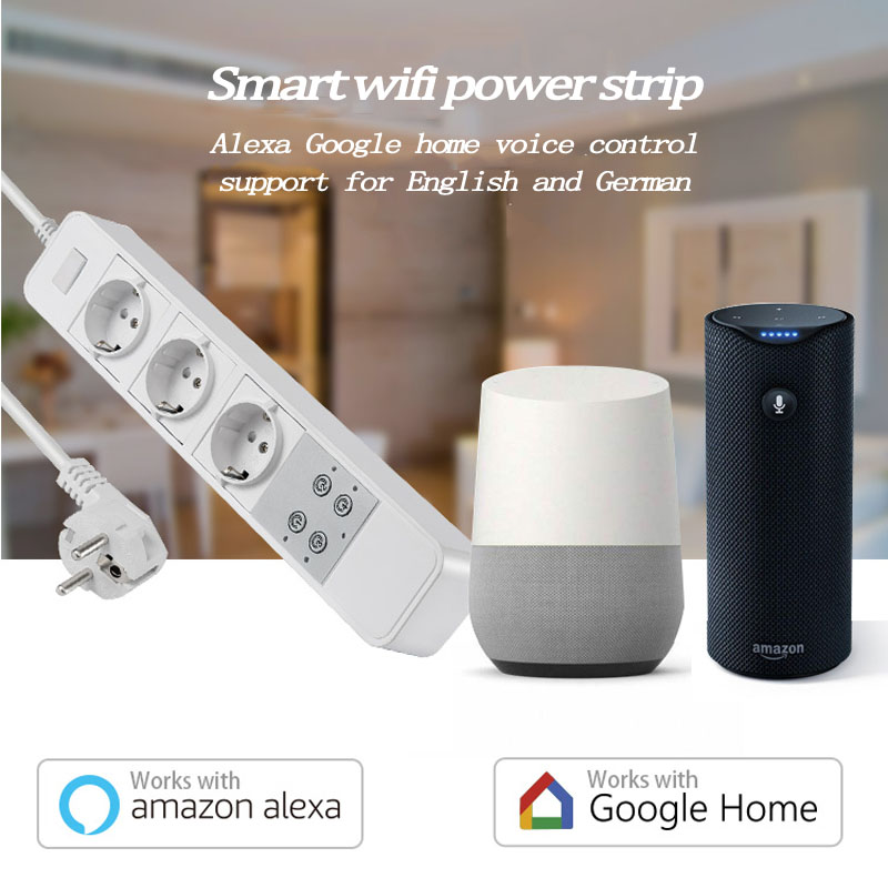 Work with Amazon Echo Alexa WiFi Smart  EU Power Strip Surge Protector  Smart socket Home Strip for Home ewelink app remote