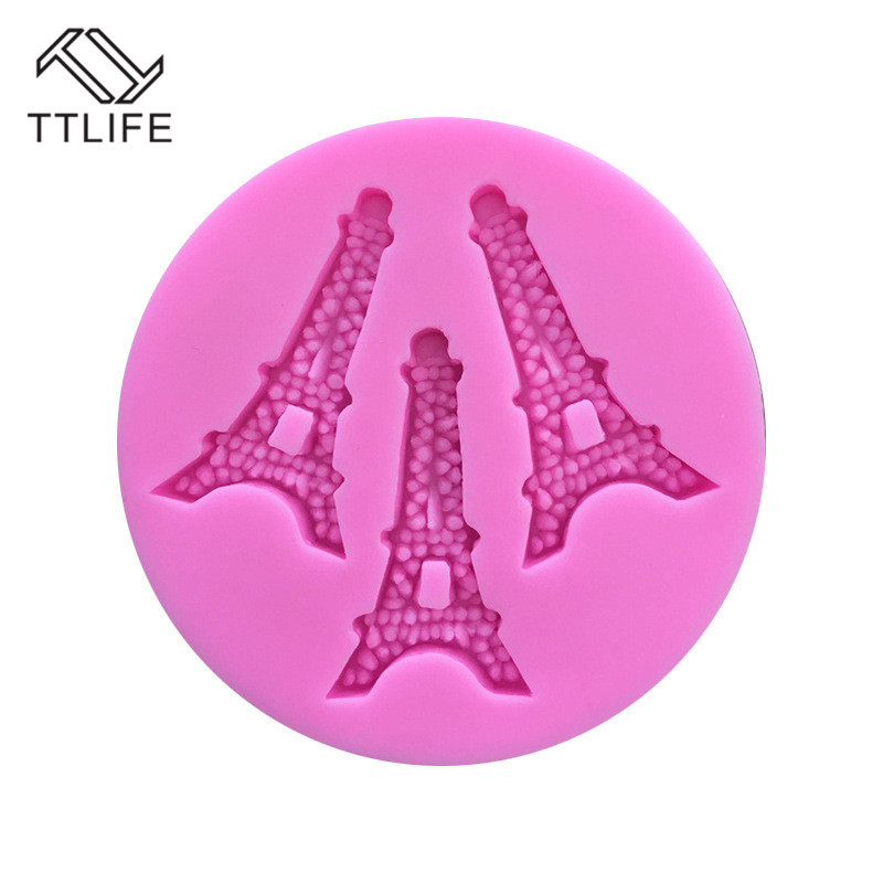 TTLIFE 3 Holes Eiffel Tower Paris Silicone Mold Fondant Cake Chocolate Baking Moulds Pastry Chocolate Cupcake Decorating Tools in Cake Molds from Home Garden