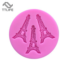 TTLIFE 3 Holes Eiffel Tower Paris Silicone Mold Fondant Cake Chocolate Baking Moulds Pastry Cupcake Decorating Tools