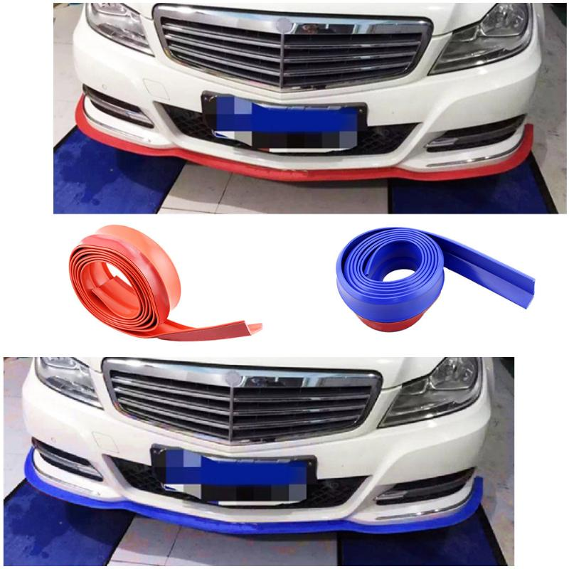 VODOOL 2.5M Car Soft Front Bumper Lip Kit Splitter Car Body Spoiler Valve Chin Strip Auto Exterior Rubber Universal Car Styling