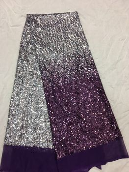 5 yard Z-han5129 shinning sequins tulle lace fabric good selling french net fabric