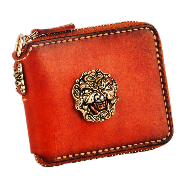 Exquisite metal embossed monster decoration handmade men wallets short zipper Genuine Leather women wallets and coin purse