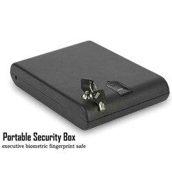 Сейф для отпечатков пальцев, твердый стальной ключ безопасности, Сейф для хранения драгоценностей, переносной биометрический Сейф для отпе...