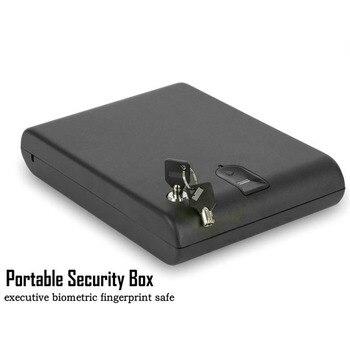 Linii papilarnych sejf litej stali zabezpieczeń kluczem Gunsafe kosztowności biżuteria pudełko do przechowywania przenośny biometryczny linii papilarnych sejf Gunbox