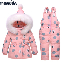 Menoea Kids Sets Baby Fashion Winter Down Jacket Set Jacket+Pants Outside Hoodies Outerwear Suits New Polka Dot Girls Clothes