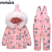 Menoea Kids Sets Baby Fashion Winter Down Jacket Set Jacket+Pants Outside Hoodies Outerwear Suits New Polka Dot Girls Clothes menoea baby outerwear