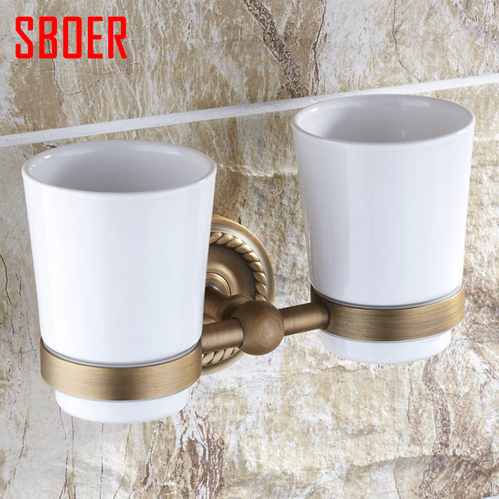 Bath Double glass/ceramic Tumbler Holders Wall-mounted Toothbrush Holder, Cup & Tumbler Holders antique brass bath accessories new arrival flower carved bath deck mount toothbrush holder single ceramic cup with metal holder tumbler holder