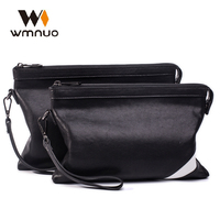 Wmnuo Men Handbags Chinese Brand Genuine Leather Day Clutches Cow Leather Fashion Envelope Soft Leather Commercial