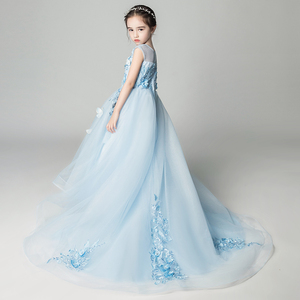Long Trailing Girl Wedding Dresses Elegant Blue Tulle Butterfly First communion Gown Kids Evening Formal Princess Tutu Dress(China)