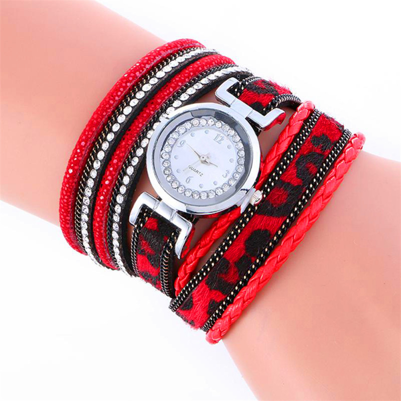 Montre Watch Hot Sale Wrap Around Fashion Weave Leather Bracelet Lady Womans Wrist Watch Drop Shipping Sep13
