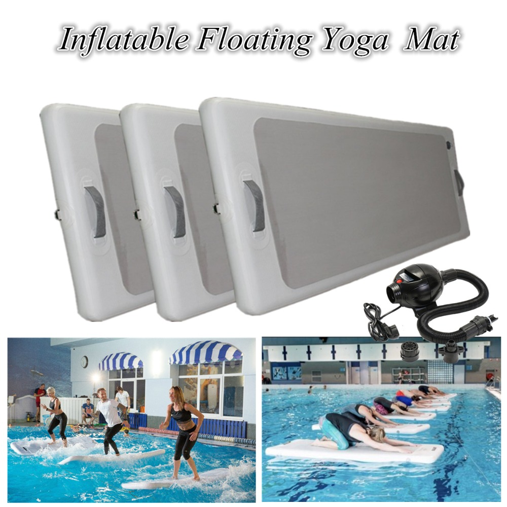 90 *200*10cm Outdoor Water Sports Inflatable Floating Pontoon Pool DWF Yoga Mats Inflatable Gym Mat With 220v pump funny summer inflatable water games inflatable bounce water slide with stairs and blowers