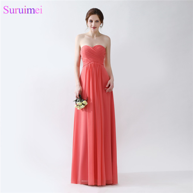 Red Coral Wedding Event Brides Maid Of Honor Dress Floor Legnth ...