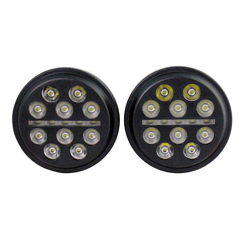 2 pièces 4.5 pouces LED ronde ampoule de remplacement d'antibrouillard pour Harley Road King 4-1/2