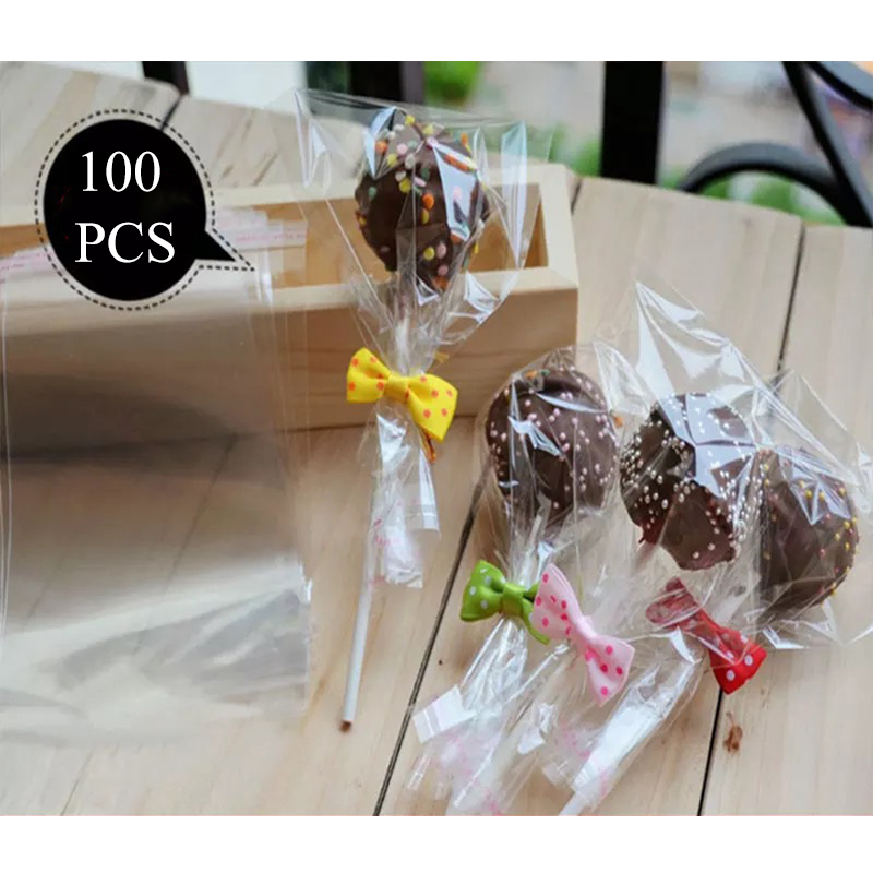 100pcs/Bag Transparent Opp Plastic Bags For Candy Lollipop Cookie Packaging Cellophane Bag Wedding Party Gift Bag упаковка