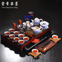 Kung fu tea set the whole kettle set of blue and white porcelain ceramic teapot solid wood tea tray tea ceremony