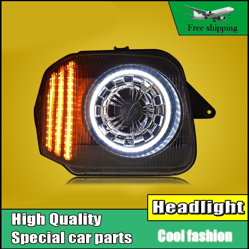 Car Styling For Suzuki Jimny led headlights 2007-2015 head lamp LED Angel eye Headlight Assembly front light Bi-Xenon Lens xenon car styling for chevrolet trax led headlights for trax head lamp angel eye led front light bi xenon lens xenon hid kit