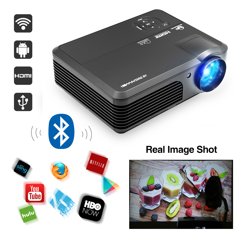 CAIWEI Smart LED Projector with Android Bluetooth Wifi Home Theater Multimedia beamer Full HD 1080P video TV Movie Cinema wzatco 5500lumen android smart wifi 1080p full hd led lcd 3d video dvbt tv projector portable multimedia home cinema beamer