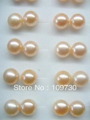 Ry00117 50 AAA Lots 100 Paires 8-8.5mm D'eau Douce Perle Stud 925 en argent sterling
