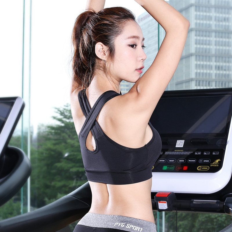 Sports Bras Solid Cross Strap Black Fitness Top Running Yoga Bra Women Push Up Quick Dry Fitted Gym Workout Sport Shirt