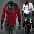 Camisola nova marca hoodies duplo zíper moleton masculino patchwork de manga longa fino moletom com capuz assassins creed Frete grátis