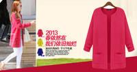 1172 осень весна зима европейско-американский все матч с длинным рукавом конфеты цвет карманные средней длины - длинный кардиган свитер верхняя одежда