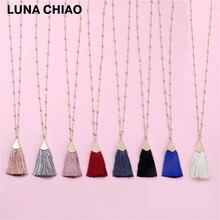 LUNA CHIAO Fall Trendy 80cm Long Ball Link Chain Brushed Gold Cap Silk Fan Fringe Tassel Pendant Necklace