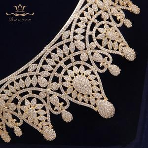 Image 5 - למעלה איכות מדהימה מלא זירקון חתונת Hairbands מתנות עבור כלות מצופה קריסטל מצנפות כתרים זהב חתונה שיער אבזרים