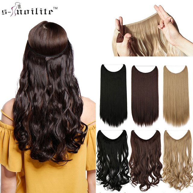 Snoilite Long Synthetic Hair Hairpiece Fish Line Hair Extensions No