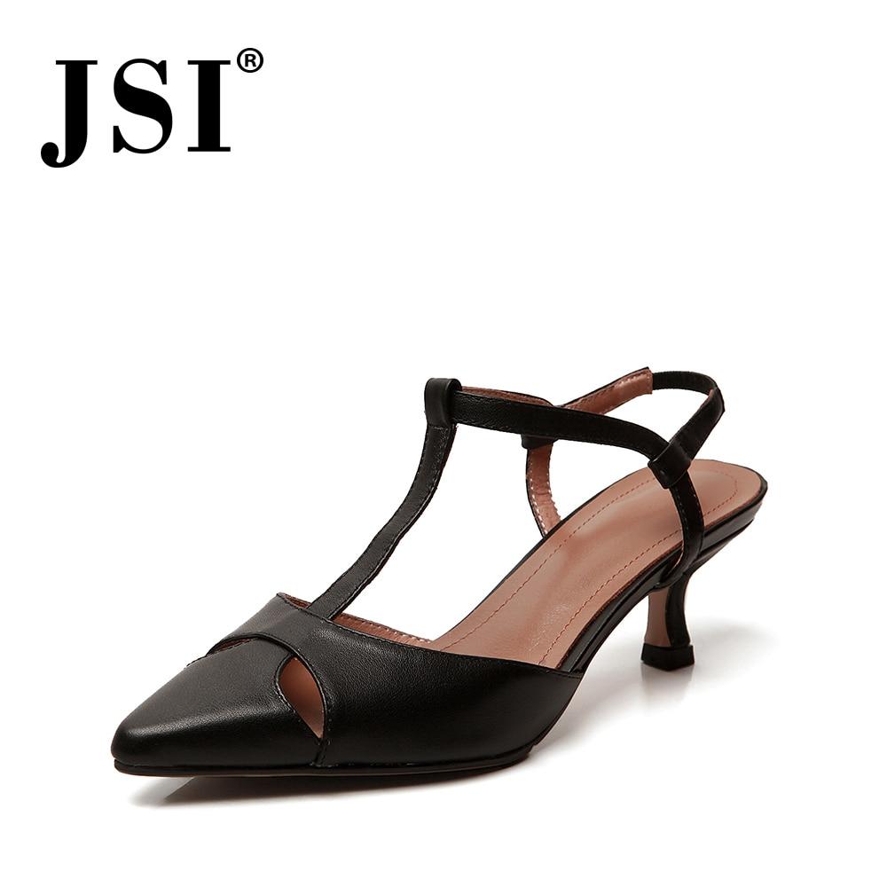 JSI Elegant Concise Women High Quality Basic Genuine Leather Thin Heels Dress Ladies Shoes Pointed Toe