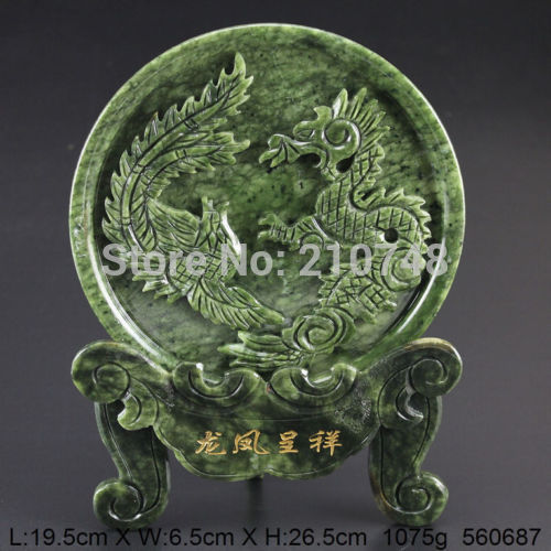 Crafts statue 100% Natural Jade Handwork Carved Dragon Phoenix Statue coins