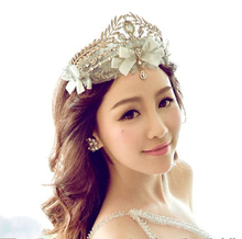 Gold /Silver Quality Gorgeous Rhinestone Lace Bowknot with Teadrop Pendent Crystal Wedding Bridal Crown Jewelry Hairwear