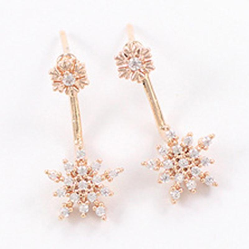 Women Gold Color Snowflake Earrings Fashion Jewelry Lady Elegent Crystal Rhinestone Ear Stud Nice Gift In From
