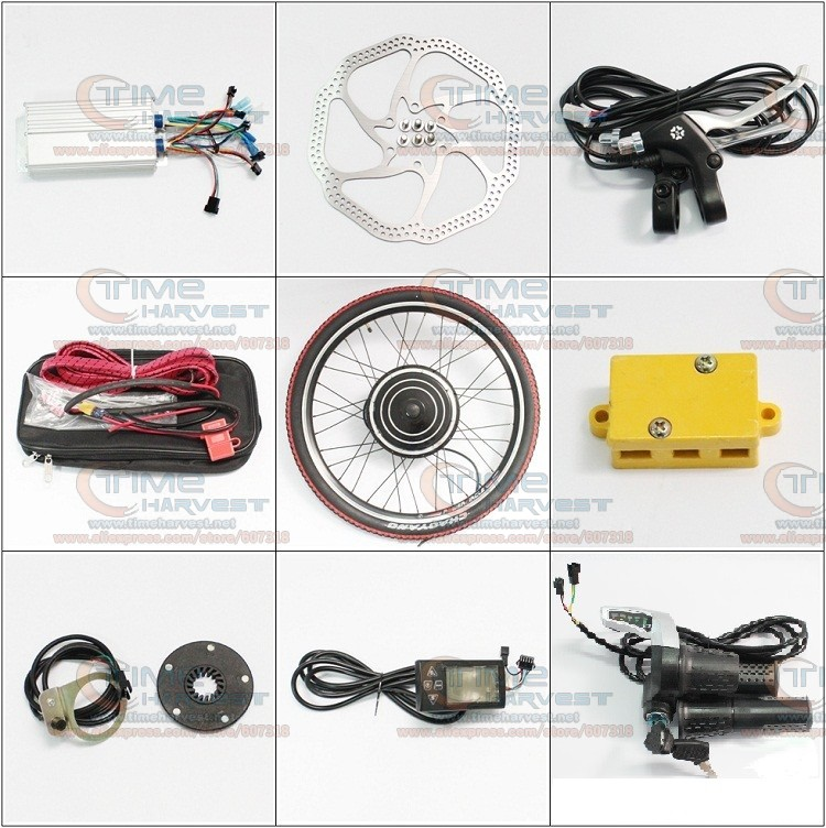 DIY Electric mountain bike Strong Brushless Gearless Hub Motor 24V 500W Front Wheel Electric Bike Conversion Kits with LCD meter 24v 500w electric mountain bike powerful brushless gearless hub motor 26 rear wheel electric bike conversion kit with lcd meter