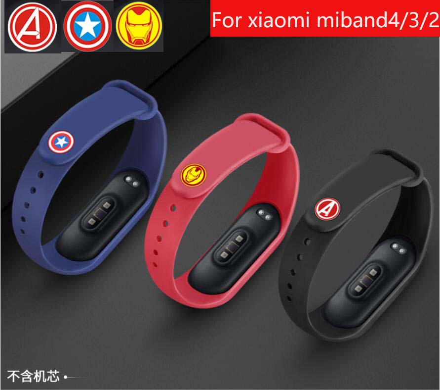 <font><b>avengers</b></font> marvel For <font><b>Xiaomi</b></font> <font><b>Mi</b></font> <font><b>Band</b></font> <font><b>4</b></font> 3 2 Bracelet <font><b>Strap</b></font> Miband 3 2 <font><b>Strap</b></font> Wristband <font><b>Band</b></font> For <font><b>Mi</b></font> <font><b>Band</b></font> 2 3 <font><b>4</b></font> Silicone image