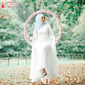 Simple Chiffon Long Sleeve Hijab Wedding Dresses With Wrap elegant Bridal Dresses Long Indian Saudi Arabia Gelinlik  Z742