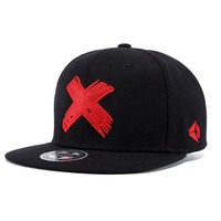 Vintage Men Women Canvas Cool Flat Brim Hip Hop Hat Fashion Embroidered Big Cross Dad Hat