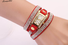 1PC Women Watches Leather Strap Braided winding Rhinestone Watches Wristwatch wholesale
