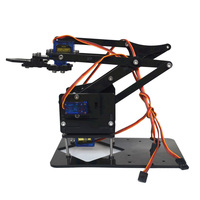 4DOF Assembling Acrylic Mechine Robot Arm With SG90 Plastic Gear Servo For Robot DIY Toy Models