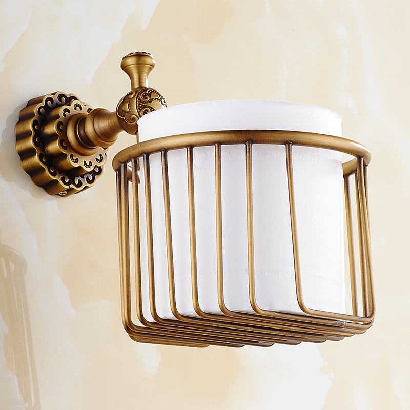 Antique Bronze Toilet Paper Holder Brass Roll Tissue Rack Roll Holder Carved paper box Shelf basket toilet Accessores