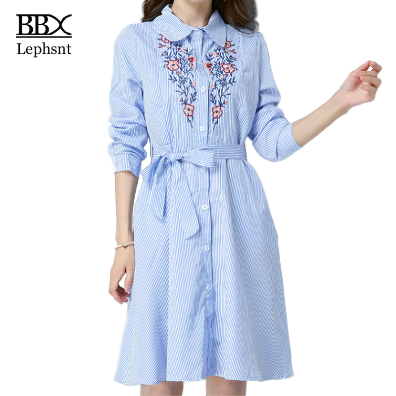 BBX Lephsnt elegant embroidery office ladies dress 2018 spring fashion casual loose long sleeve women dress with sash B83102 ...
