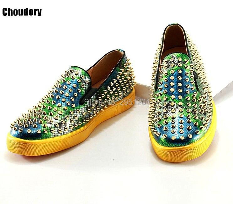 2019 Роскошные брендовые лоферы из змеиной кожи; Choudory; повседневные лоферы; Разноцветные слипоны на плоской подошве; кожаная обувь на платформе - 4