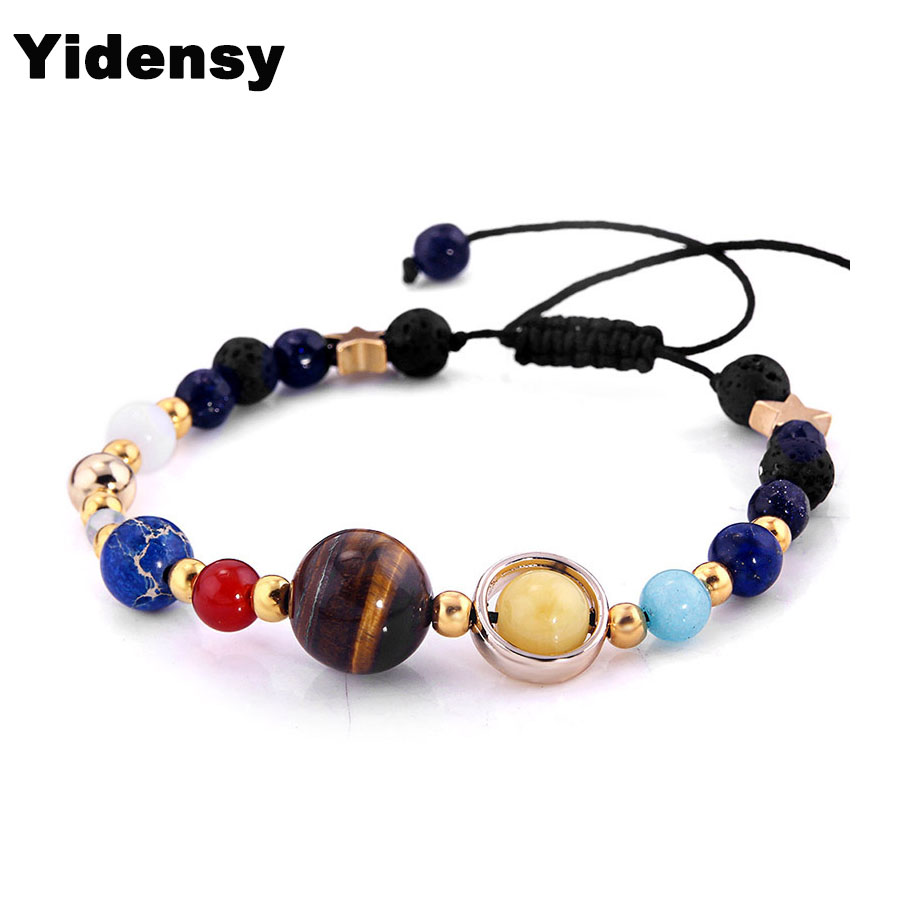 YIdensy Galaxy the Eight Planets in the Solar System Guardian Star Natural Stone Beads Bracelet Bangle for Women & Men Gift