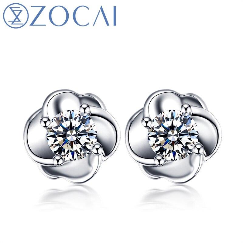 ZOCAI New Arrival Prong Setting 0.27 CT Certified Real Diamond Earrings 18K White Gold (Au750) JBE00002 jinhui 18k 750 0 05 ct jh bs1380