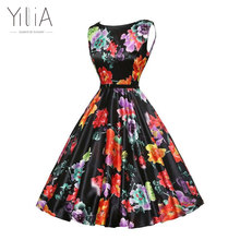 yilia 2017 A line Vintage Women Dress 50s 60s Audrey Hepburn Ladies Rockabilly Big Swing High Waist Elegant Ball Gown Midi Dress