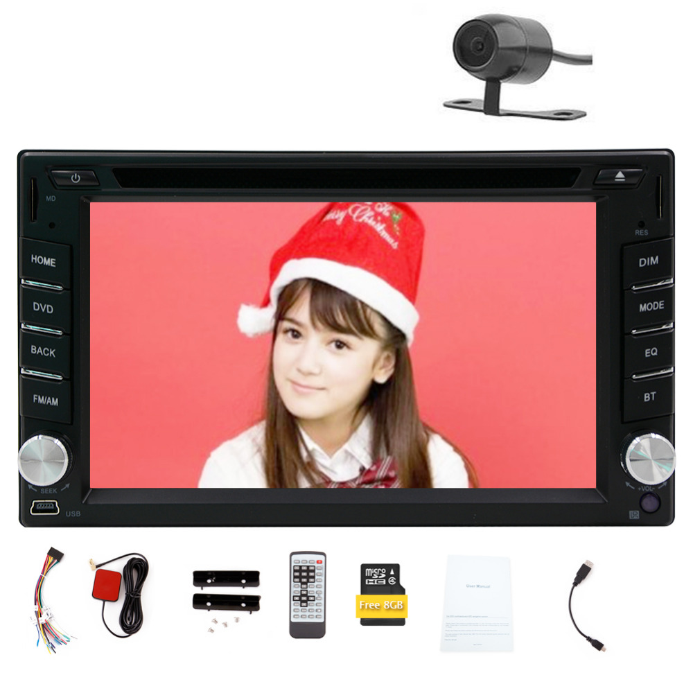 Hot Sale!!! Double DIN Windows system 6.2 inch GPS voice Navigation Free 8GB MAP Card HD Touch Screen SD/USB Support FM Transmit