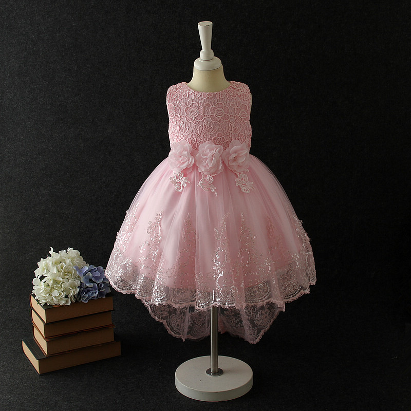 2018 Party Pink Formal Dress Girls Eleghant Princess Wedding Flower Girl Vestido Kids Clothes for 4 to 14 Years Old RKF184053