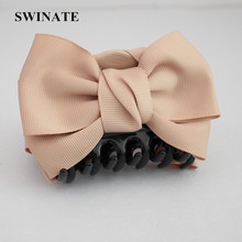 SWINATE Women Girls Quality Ribbon Bow Hair Claw Hair Clip Fabric Flower Bow Hair Barrette Big Claw For Office Ladies Daily Wear