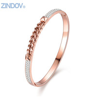 Popular Women Bangles Bracelets Stainless Steel IP Gold Plated Real Rose Gold White Silver Crystals Shine