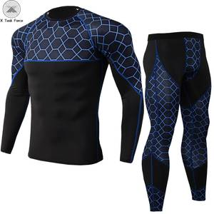 Men Compression Shirt Pants 2PcsSets Tracksuit Camouflage Long Sleeve Tshirt Jogger Leggings Mens Bodybuilding Sportswear