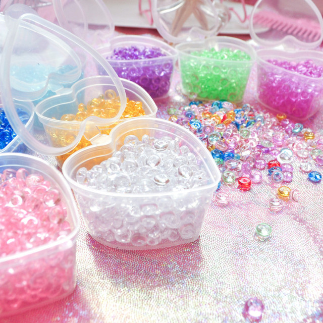 Crystal Flat Fishbowl Beads Slime Accessories Colorful Rubber Balls for Slime Filler DIY Slime Supplies Decor with Heart-Box